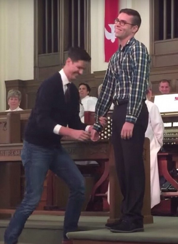 gay propose boyfriend methodist church