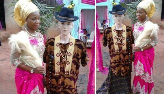 Nigerian Bride Uses A Mannequin To Represent Her Groom Who Is Based Abroad During Her Traditional Wedding