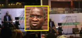 Light Goes Off At Eko Hotel As Nigeria's Minister Of Power Fashola Climbs Podium To Give Speech