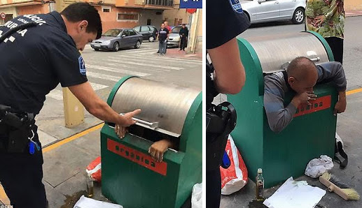 Photos: Guy Finally Rescued After Climbing Inside A Waste Bin And Getting Trapped Inside For Hours (Must See)