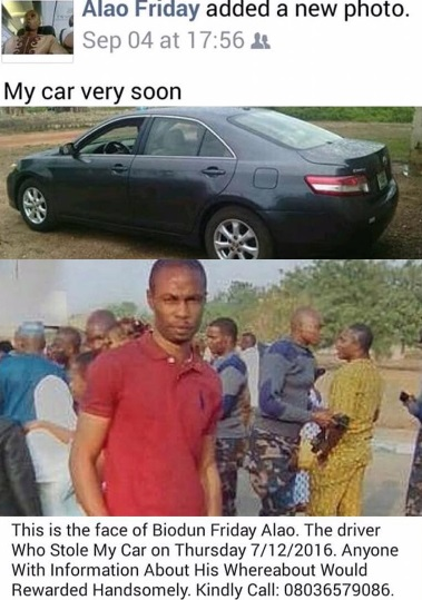 """Photos: Driver Steals His Boss' Car Few Weeks After Claiming It By """"Faith"""" On Facebook (Must See)"""