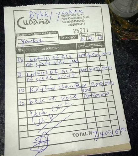 PHOTOS: MAN SPENDS ₦7.4MILLION ON DRINKS AT A NIGHT CLUB IN IMO STATE DURING THE NEW YEAR CELEBRATIONS (PHOTOS)