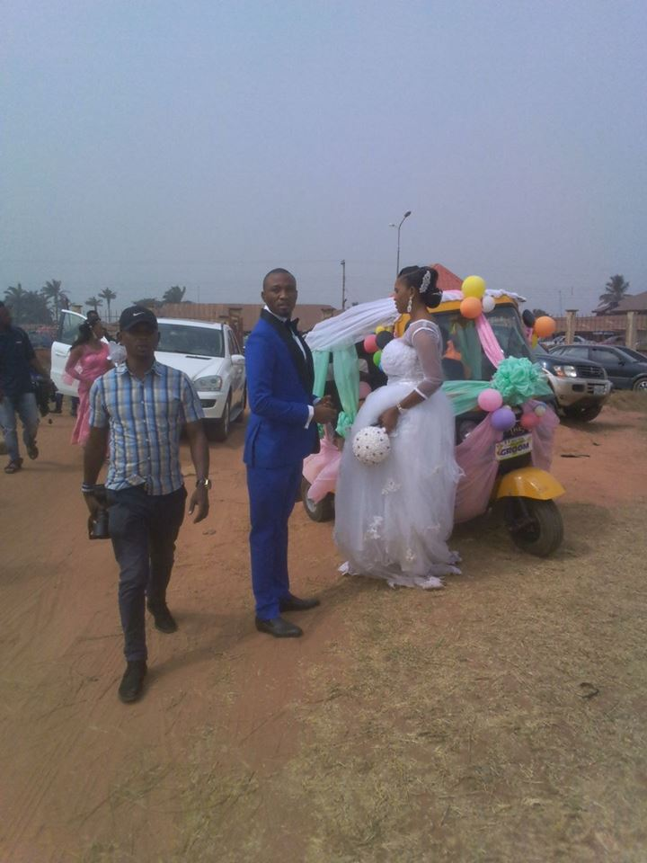 Photos: Couple Use Keke To Transport Themselves On Their Wedding Day (Must See)