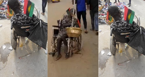 Photos: Yet Another Physically Challenged Man Wears Camouflage And Stations Him Self At Location Where The First One Was Assaulted