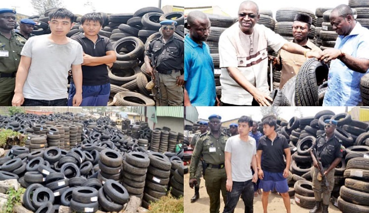 Photos: Two Chinese Arrested For Running A N5Billion Substandard Tyre Business In Lagos