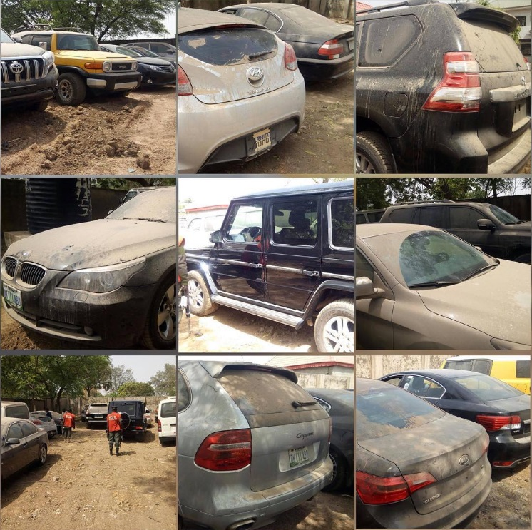 Photos: EFCC Recovers 17 Vehicles From Ex-Comptroller General of Customs, Abdullahi Dikko