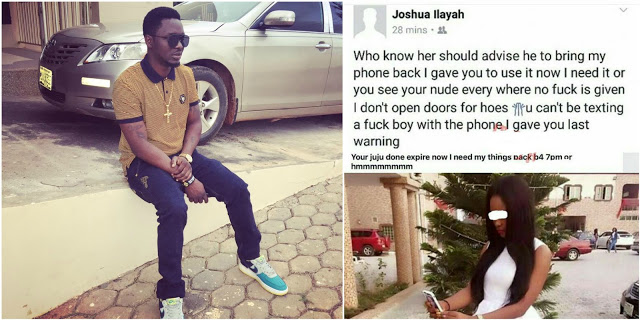 Nigerian Guy Threatens His Ex-Girlfriend To Return The Phone He Bought For Her Or He Releases Her Nudes Over infidelity