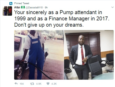 Inspiring Photos: Nigerian Man Who Used To Work As A Fuel Attendant In A Filling Station Is Now A Finance Manager