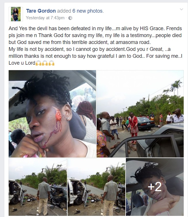 Photos: Nigerian Lady Tare Gordon Takes To Facebook To Update Her Status Immediately After Surviving A Deadly Motor Accident (Must See)