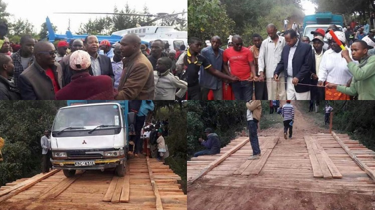 Kenyan Politician, Ephraim Maina, Flies A Chopper To Commission A Wooden Bridge In Kabaru Ward, Nyeri County (Must See)