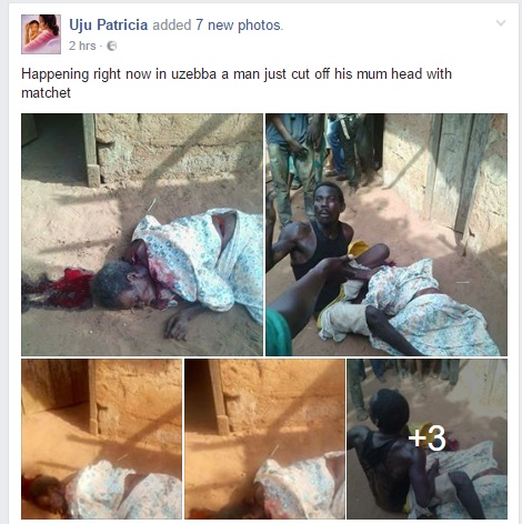 Nigerian Man Cuts Off His Mum Head With Matchet In Uzebba, Edo State