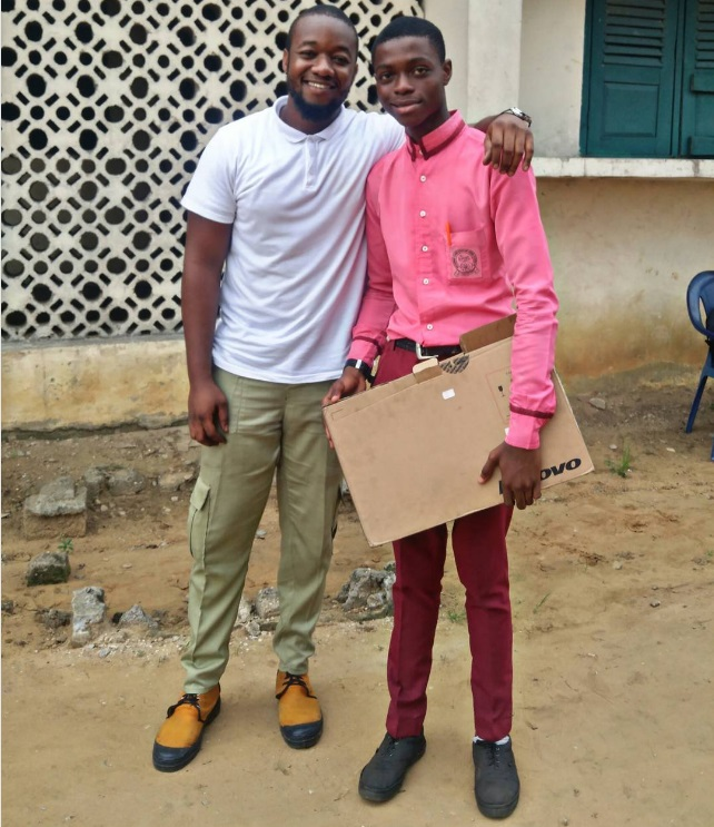 Photos: Corps member Presents A Laptop To The Best Graduating Student At His Place Of Primary Assignment, Donates Chairs