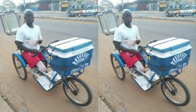 Photos: Meet Handicapped Ghanaian Man Who Sells Ice Cream For A Living