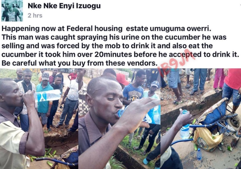 Photos: Man Allegedly Caught Spraying His Urine On The Cucumbers He's Selling In Owerri, Imo State