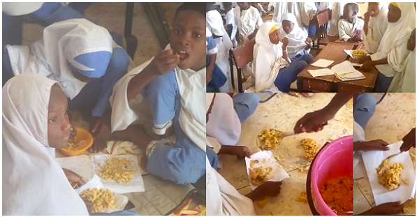 Image result for Come And See FG's School Feeding Program Where Pupils Are Served Food Inside Pieces Of Paper In Kano